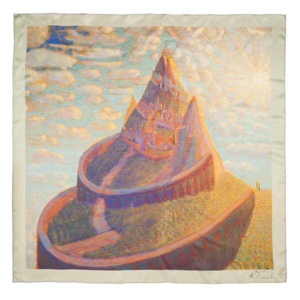 "Silk bandana - ""CASTLE FAIRY TALE"" | Avenueart.lt"