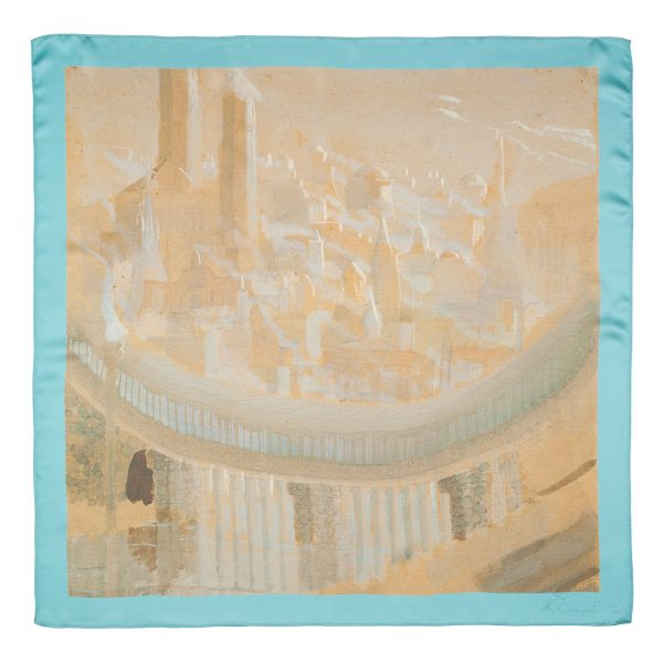 "Silk scarf - ""THE CITY"" 