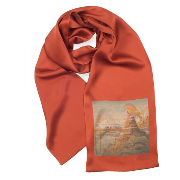 "Silk scarf for men - ""ANGEL (ANGEL PRELUDE)"" 