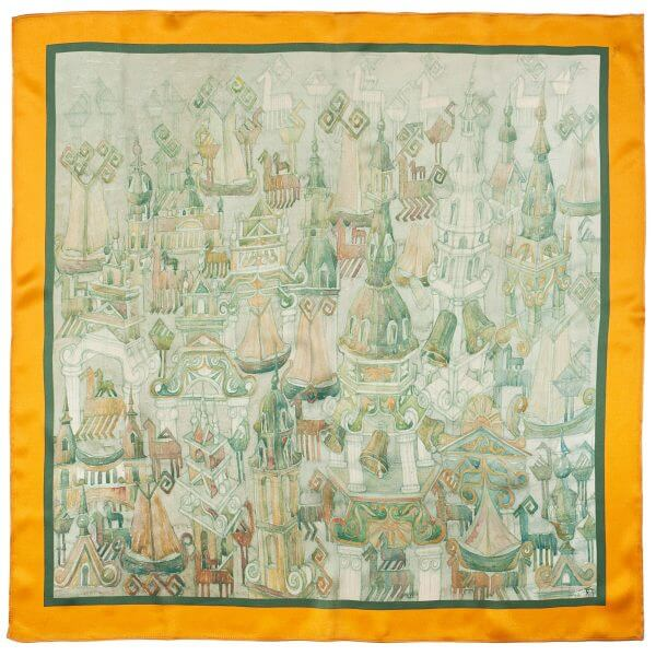 "Silk scarf - ""THE BAROQUE TOLL"" 