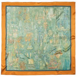 "Silk scarf - ""PARADISE OF THE AMBER CASTLE"" 