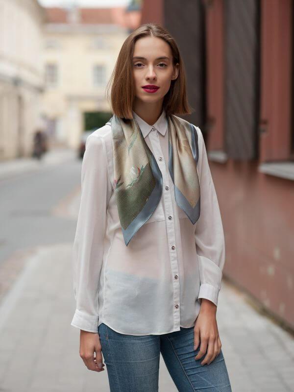 "Silk scarf -""EVENING"" | Avenueart.lt"