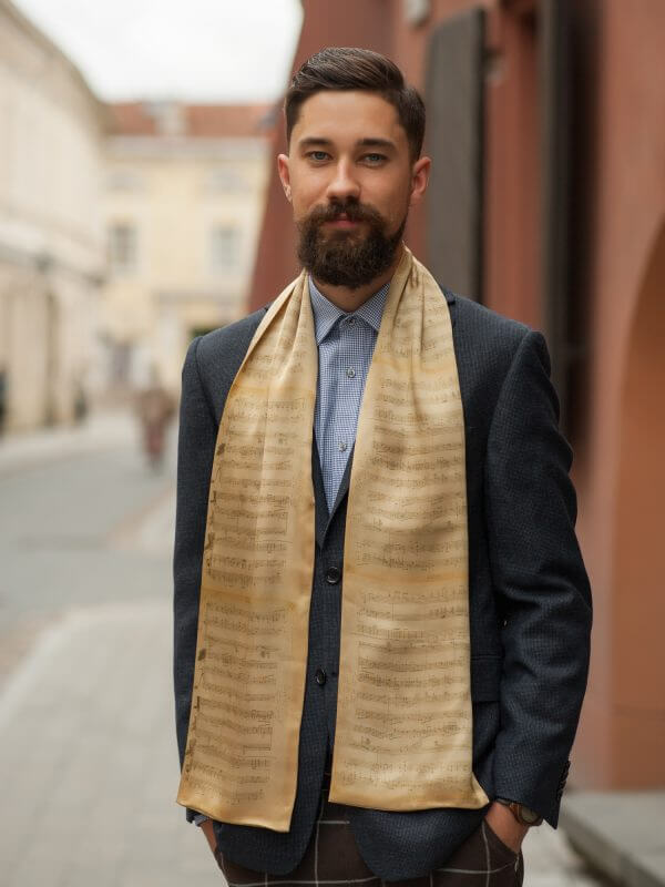 "Silk scarf for men – ""NOTES"" 