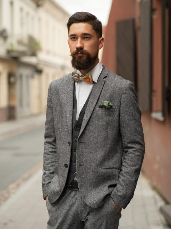 "Bow tie and pocket square - ""CREATION OF THE WORLD (IX)"" 